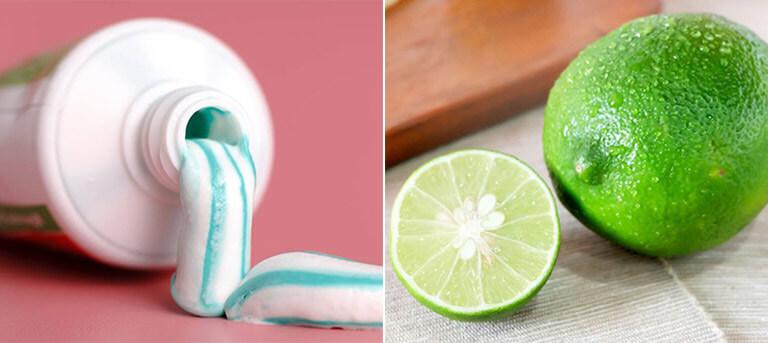 Kem đánh răng và chanh cũng là những nguyên liệu phổ biến, dễ tìm kiếm nhưng mang công dụng tuyệt vời trong việc trị mụn cám