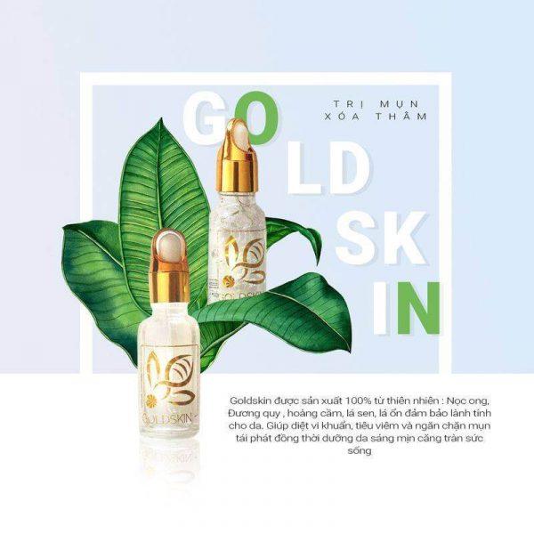 Goldskin trị mụn dựa trên tính kháng khuẩn của Nọc Ong, ngoài ra còn giúp cấp ẩm để kiềm dầu cho da