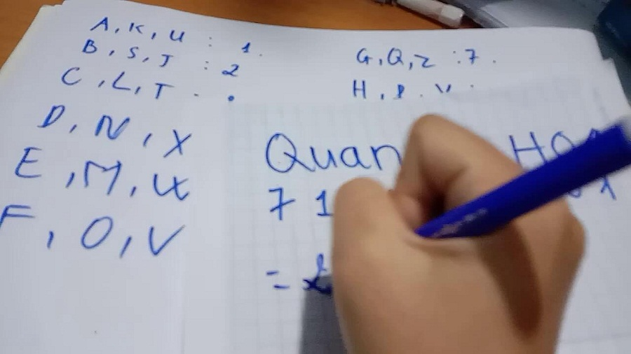 Xác định tên của 2 người cần được bói, sau đó hãy tạo dãy số bằng cách xác định ra tương ứng