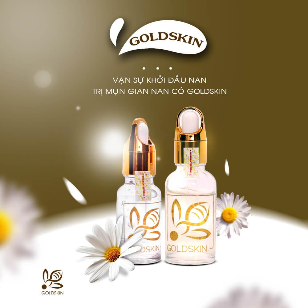 Bộ sản phẩm Goldskin không những trị mụn mà còn hỗ trợ phục hồi da