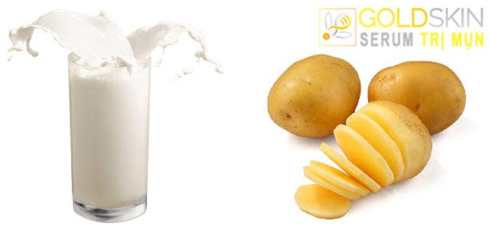 Hỗn hợp sữa chua và khoai tây tạo thành trị mụn đầu đen hiệu quả