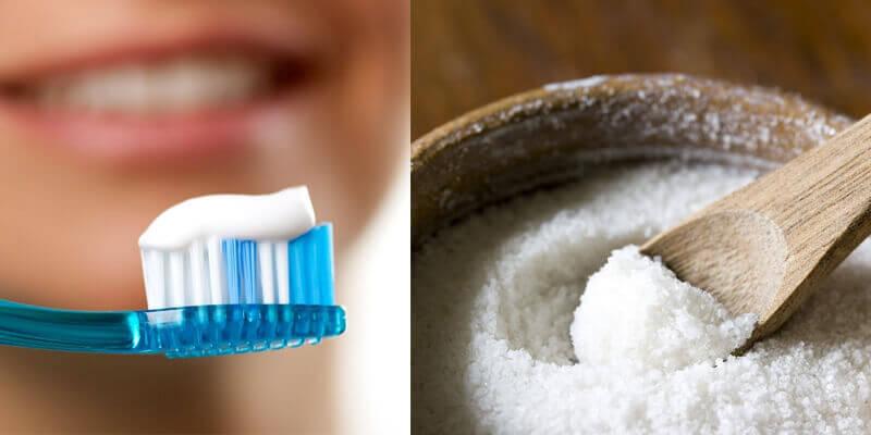 Hỗn hợp kem đánh răng với muối có chứa thành phần Sodium Pyrophosphate có tác dụng điều trị mụn