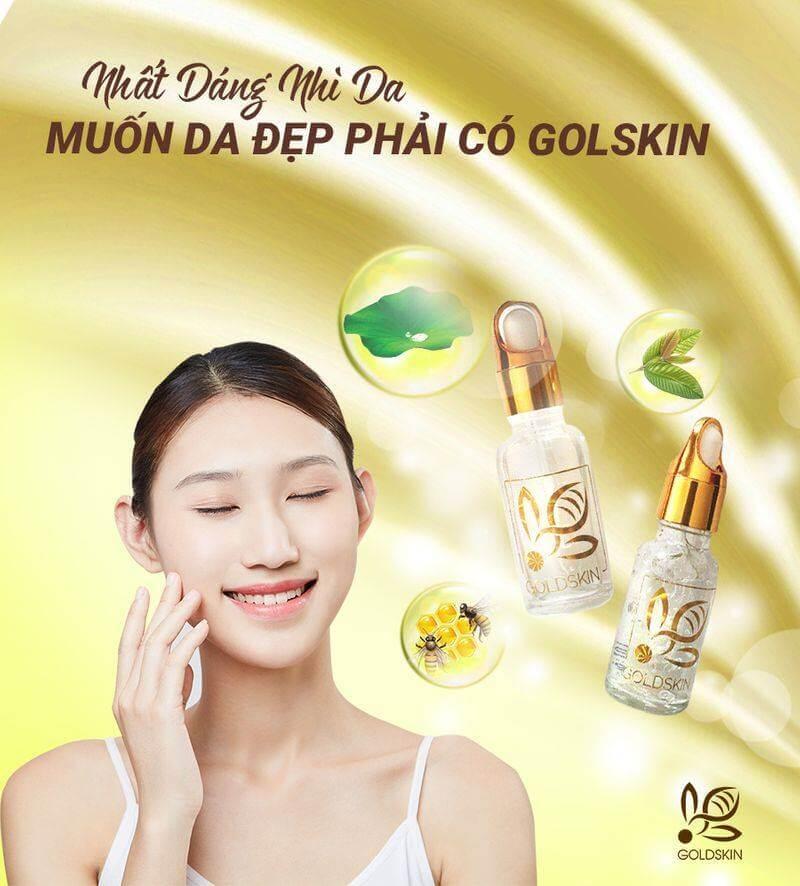 Serum Goldskin là sản phẩm tốt, trị mụn an toàn, không làm bong tróc da