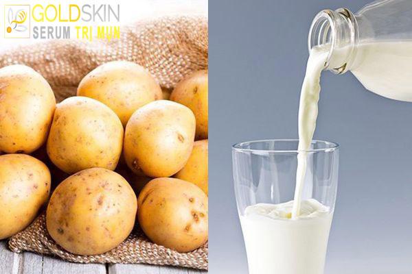 Khoai tây và sữa tươi là sự kết hợp tuyệt vời để chăm sóc da và trị mụn đầu đen.