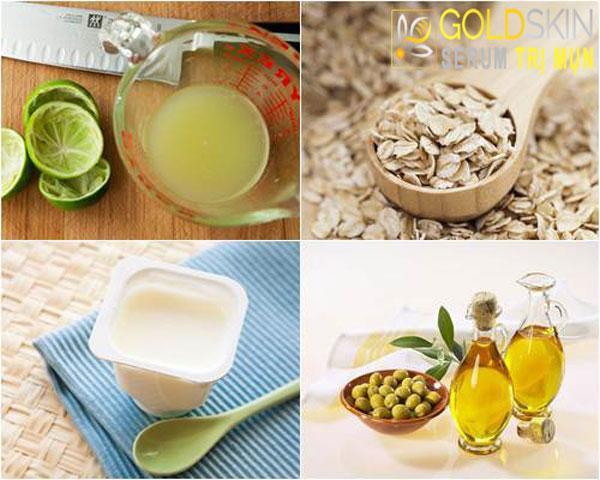 Yến mạch, sữa chua, nước cốt chanh, dầu oliu khi kết hợp lại sẽ giúp da mịn màng và sạch mụn