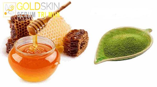 Hãy sử dụng bột trà xanh kết hợp cùng với mật ong để trị mụn ẩn nhé