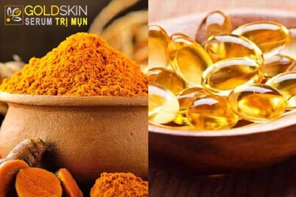 Nghệ và vitamin E là một sự kết hợp hoàn hảo giúp trị mụn và ngừa sẹo thâm hiệu quả
