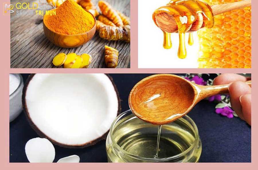 Mặt nạ tinh bột nghệ, dầu dừa và mật ong