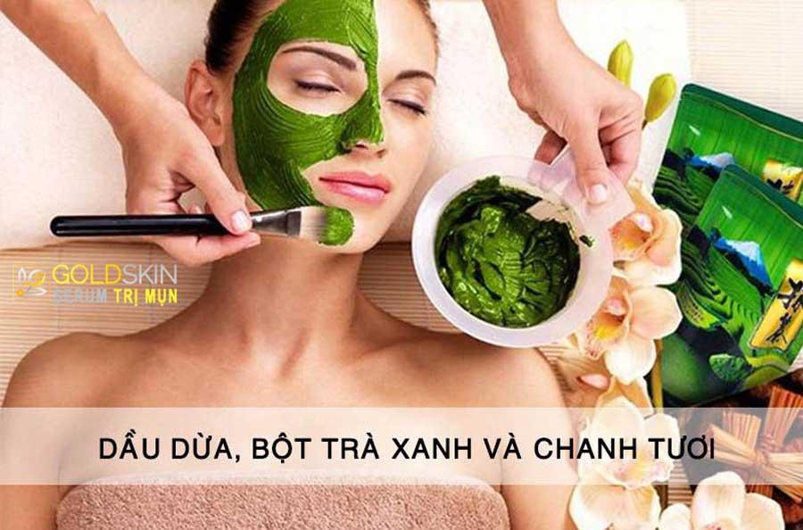 Mặt nạ dầu dừa bột trà xanh và chanh tươi