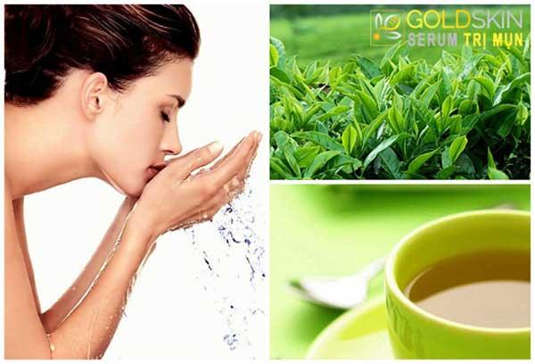 Rửa mặt bằng nước trà xanh hàng ngày