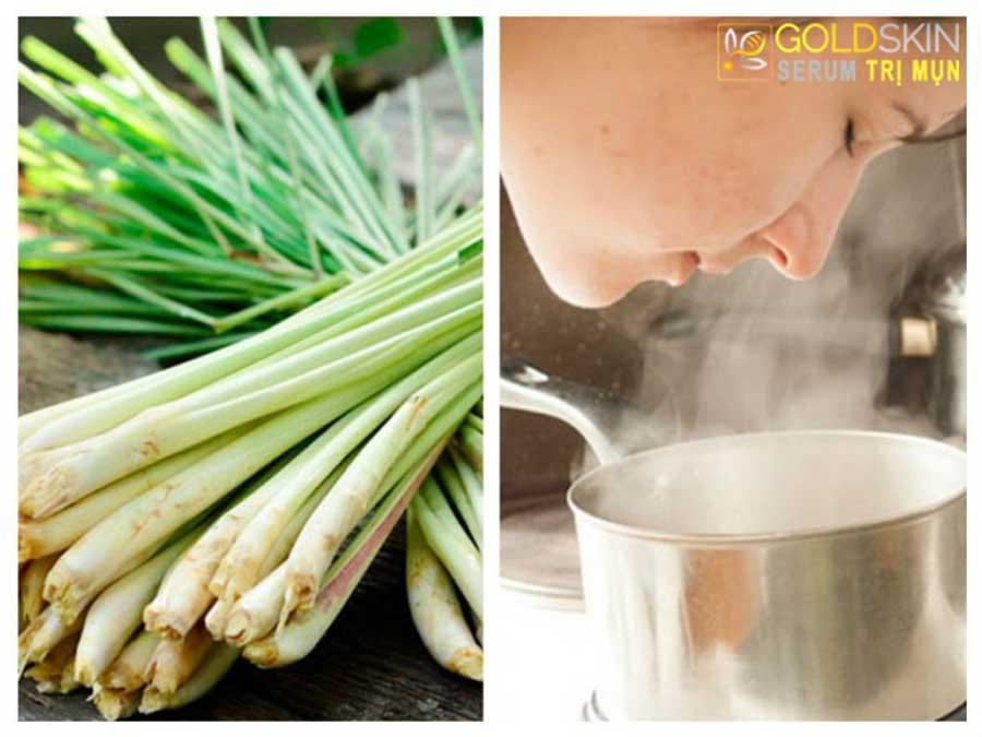 Xông mặt với tinh dầu hoặc thảo dược