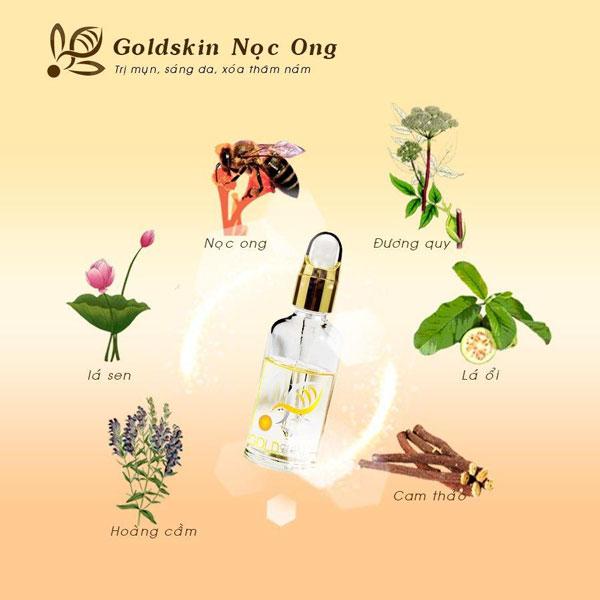 Serum trị mụn Goldskin được chiết xuất hoàn toàn từ các nguyên liệu có trong tự nhiên