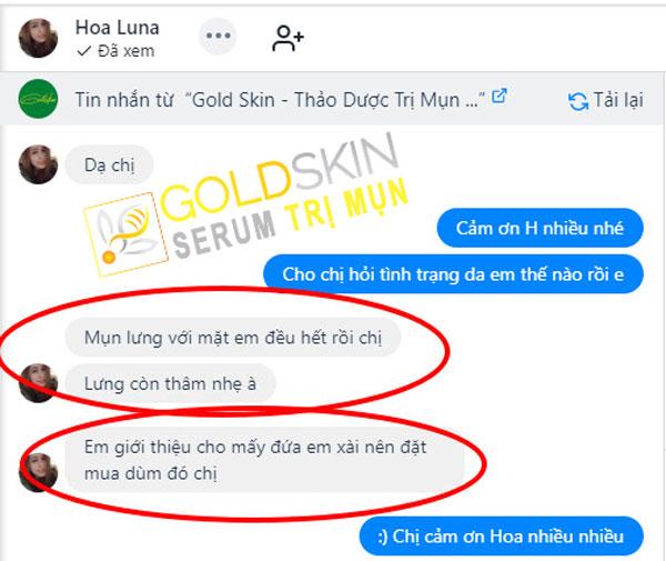 Phản hồi tích cực của KH khi sử dụng Goldskin
