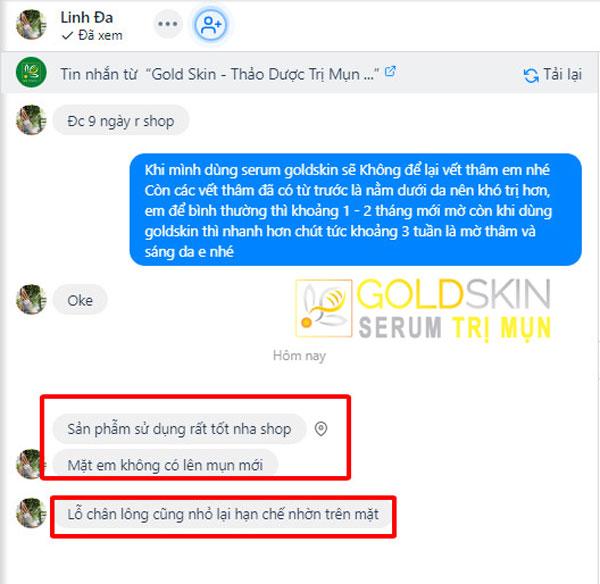 Phản hồi của KH khi sử dụng Goldskin